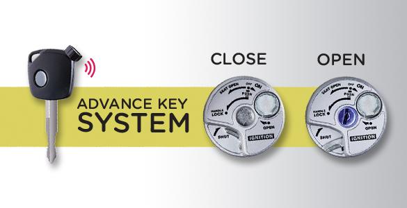 ADVANCE KEY SYSTEM (AKS) AKS dengan Answer Back System memudahkan pemilik motor mencari motornya di parkiran dengan menekan tombolnya satu kali. Fungsi lain yang bekerja dari AKS adalah Auto Open Key Shutter yang aktif saat ditekan selama dua detik untuk membuka lubang kunci otomatis dan lampu pada lubang kunci.