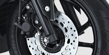 ABS SYSTEM Daya rem maksimal dengan system ABS (Anti-lock Braking System) membuat motor semakin aman dan stabil saat pengereman.