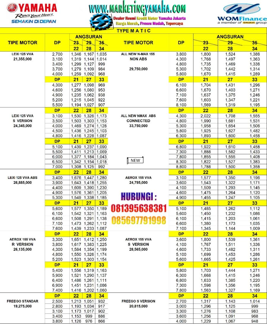 Promo Yamaha Potong Tenor 1-2 Bulan